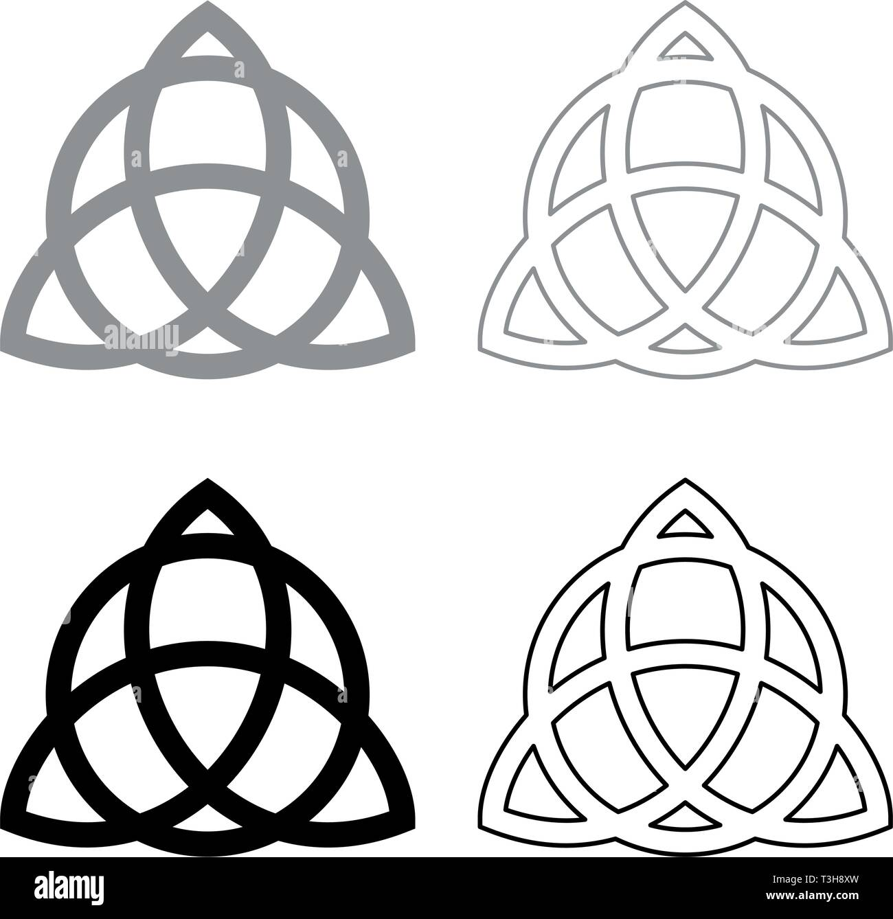Trikvetr knot with circle Power of three viking symbol tribal for tattoo Trinity knot icon set black grey color vector illustration flat style simple - Stock Vector