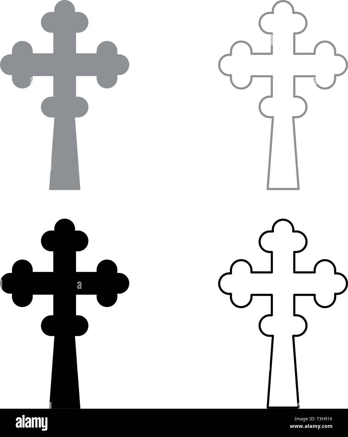 Cross trefoil shamrock on church cupola domical with cut Cross monogram Religious cross icon set black grey color vector illustration flat style - Stock Image