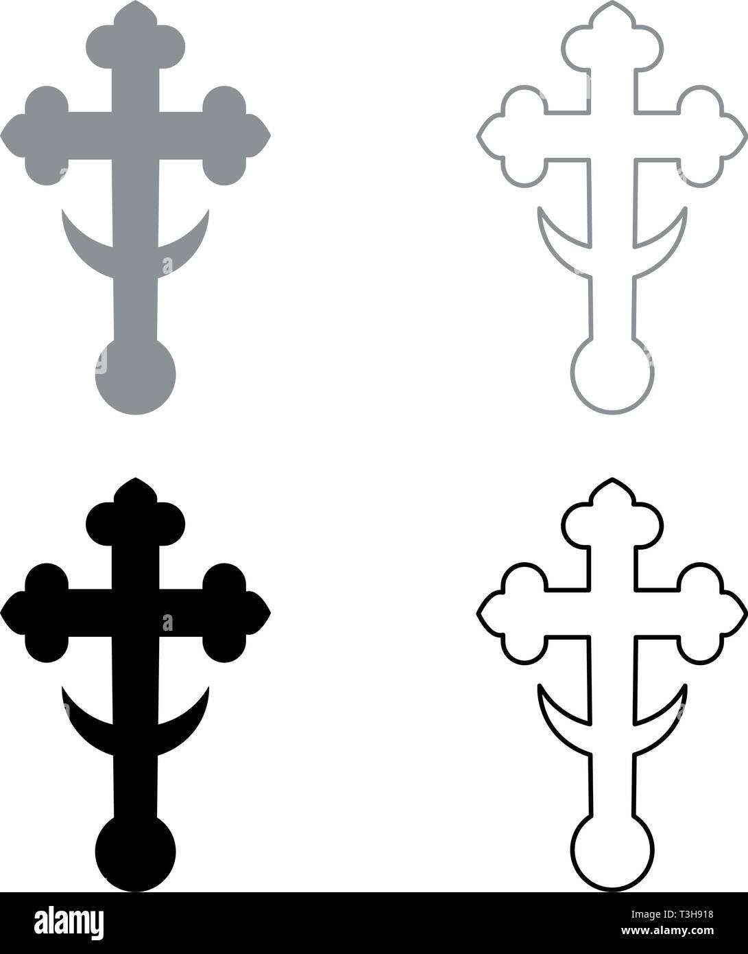 Cross trefoil shamrock on church cupola domical with half-moon Cross monogram Religious cross icon set black grey color vector illustration flat - Stock Image