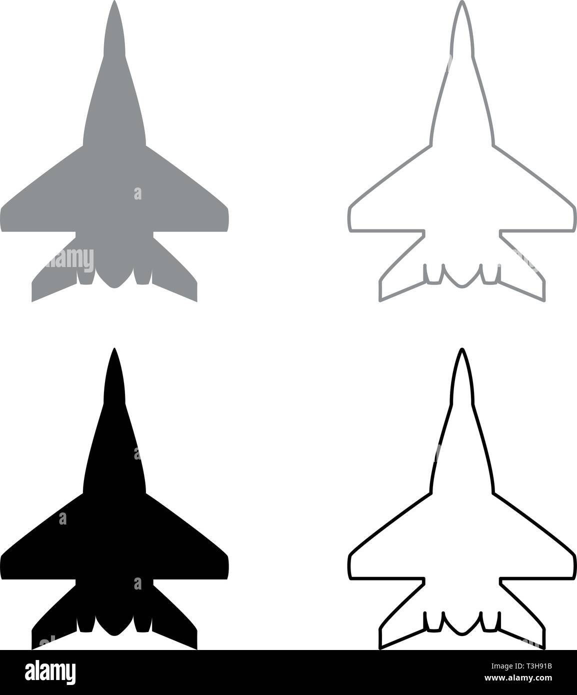 Fighter plane Military fighter airplane icon set black grey color vector illustration flat style simple image Stock Vector