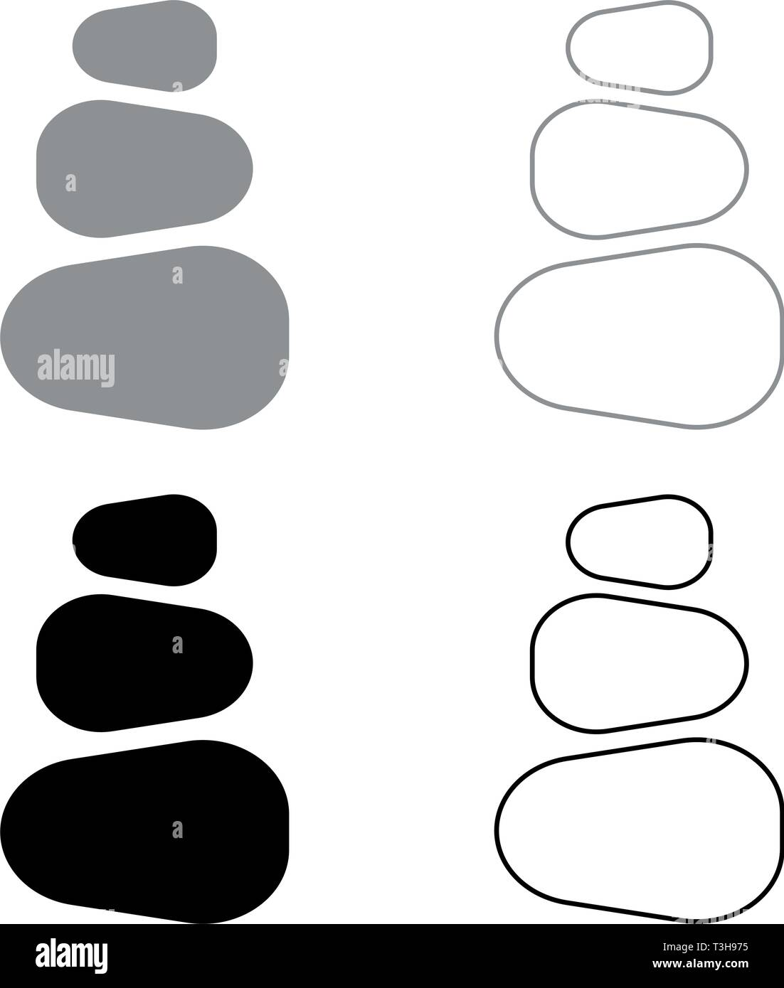 Stacked stones Stack stones Zen stone tower Spa stones stack icon set black grey color vector illustration flat style simple image - Stock Vector