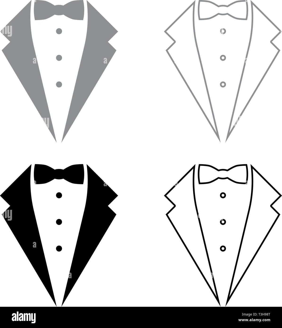 Symbol service dinner jacket bow Tuxedo concept Tux sign Butler gentleman idea Waiter suit icon set black grey color vector illustration flat style - Stock Image