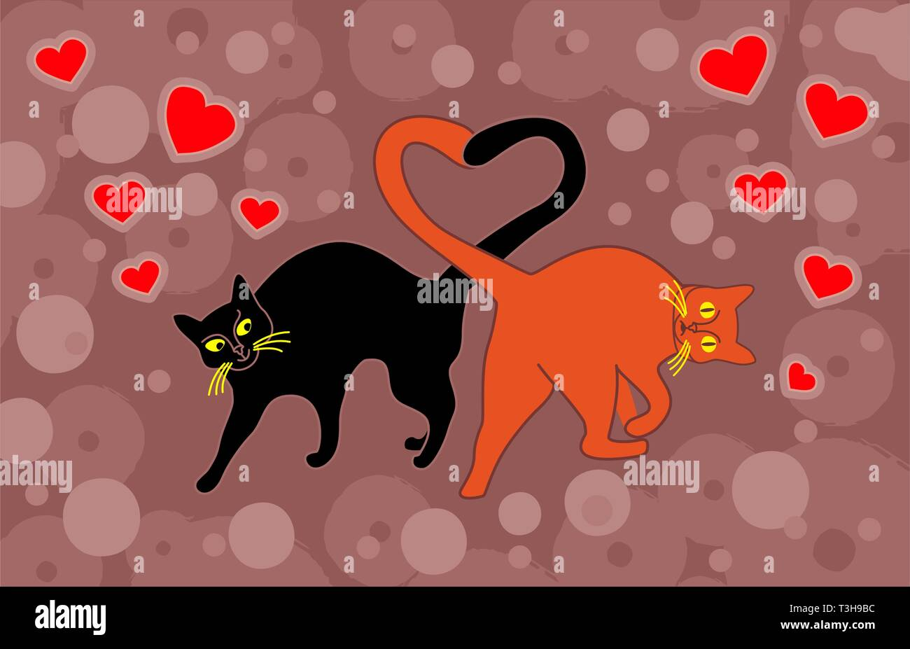 Cats in love cuddled tails heart shape on a festive background. Vector illustration - Stock Image