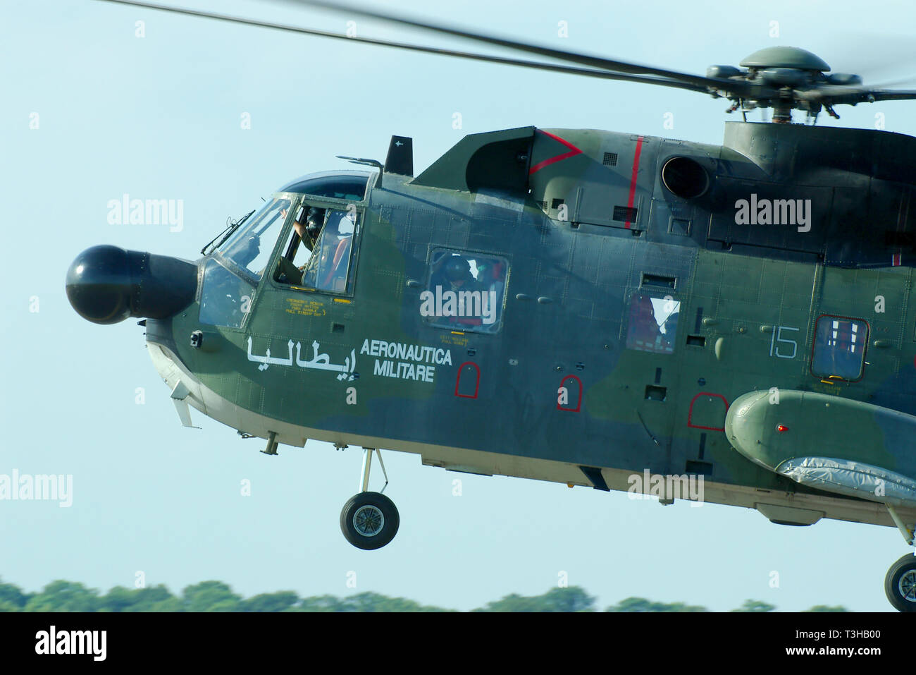 Italian Air Force, Aeronautica Militare, AM, Agusta Sikorsky AS-61R, HH-3F Pelican helicopter MM81351 15-39. Flying. Space for copy Stock Photo