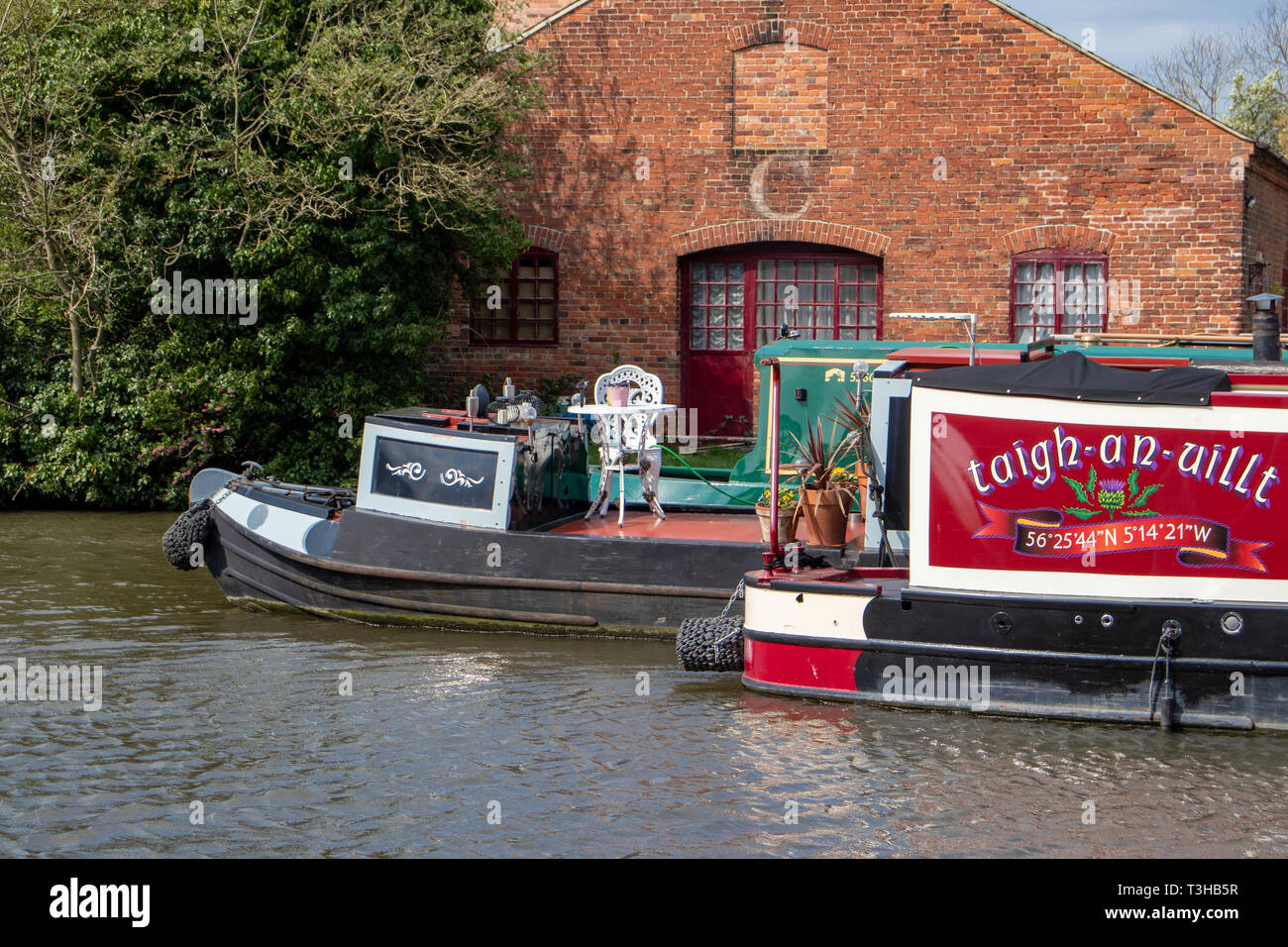 Narrowboats & Barges on the Trent and Mersey Canal at Shardlow Marina,Derby.Derbyshire.England - Stock Image