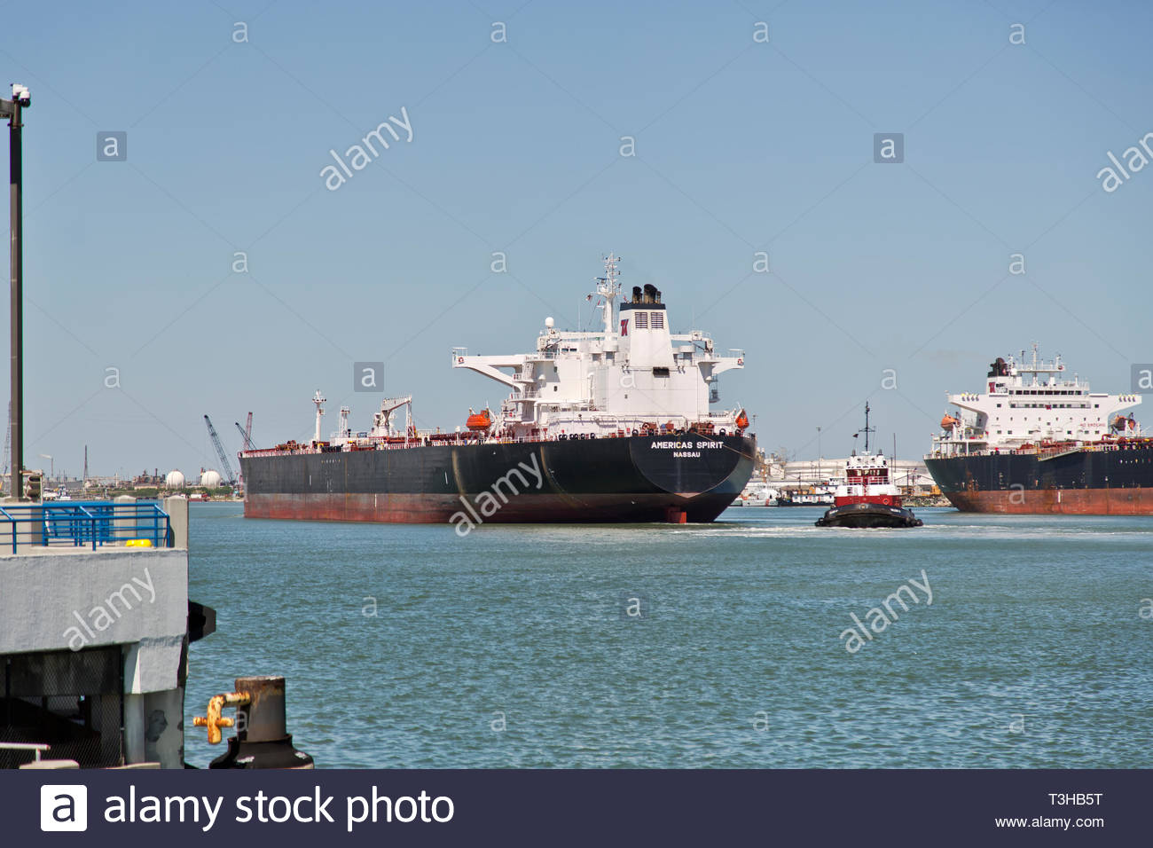 Empty Crude Oil Carrier entering Port Of Corpus Christi. Stock Photo