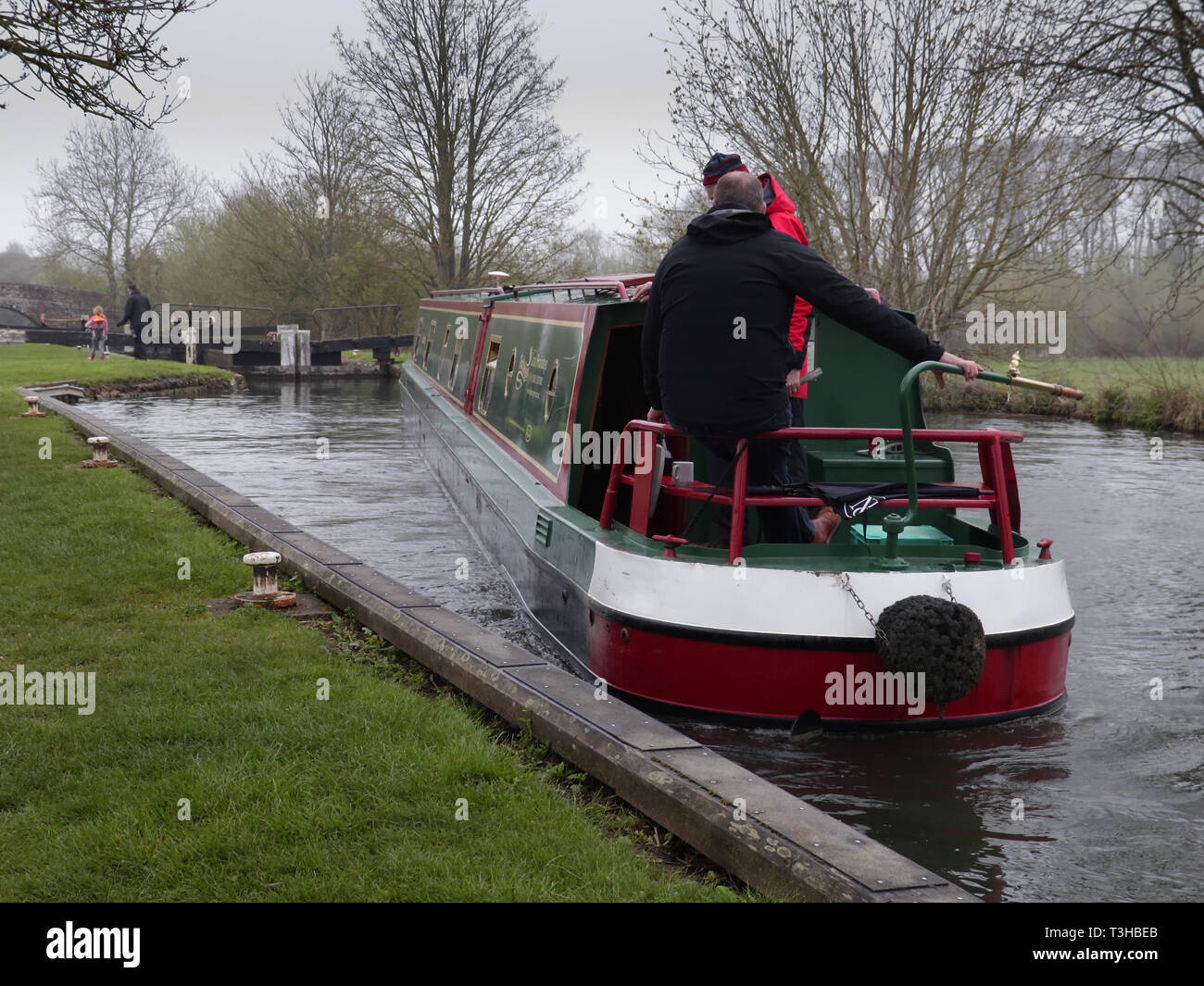 Hire boat entering lock Stock Photo