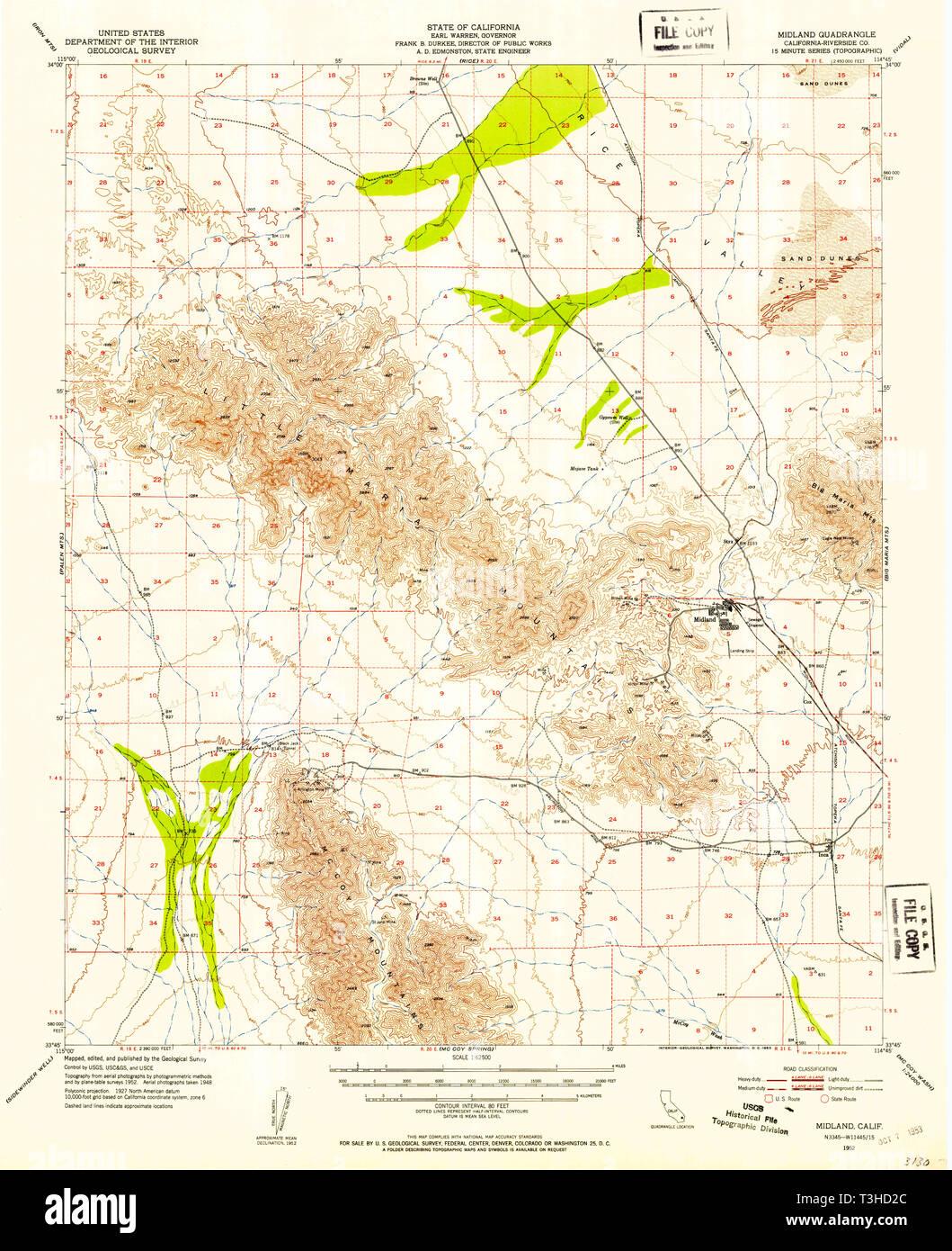 USGS TOPO Map California CA Midland 298186 1952 62500 Restoration ...