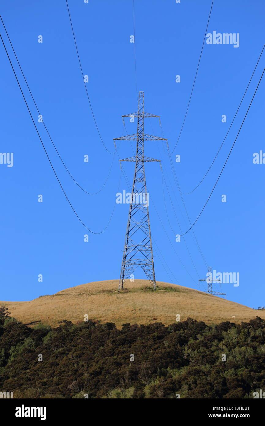 Powerlines near Balclutha, South Otago, New Zealand - Stock Image