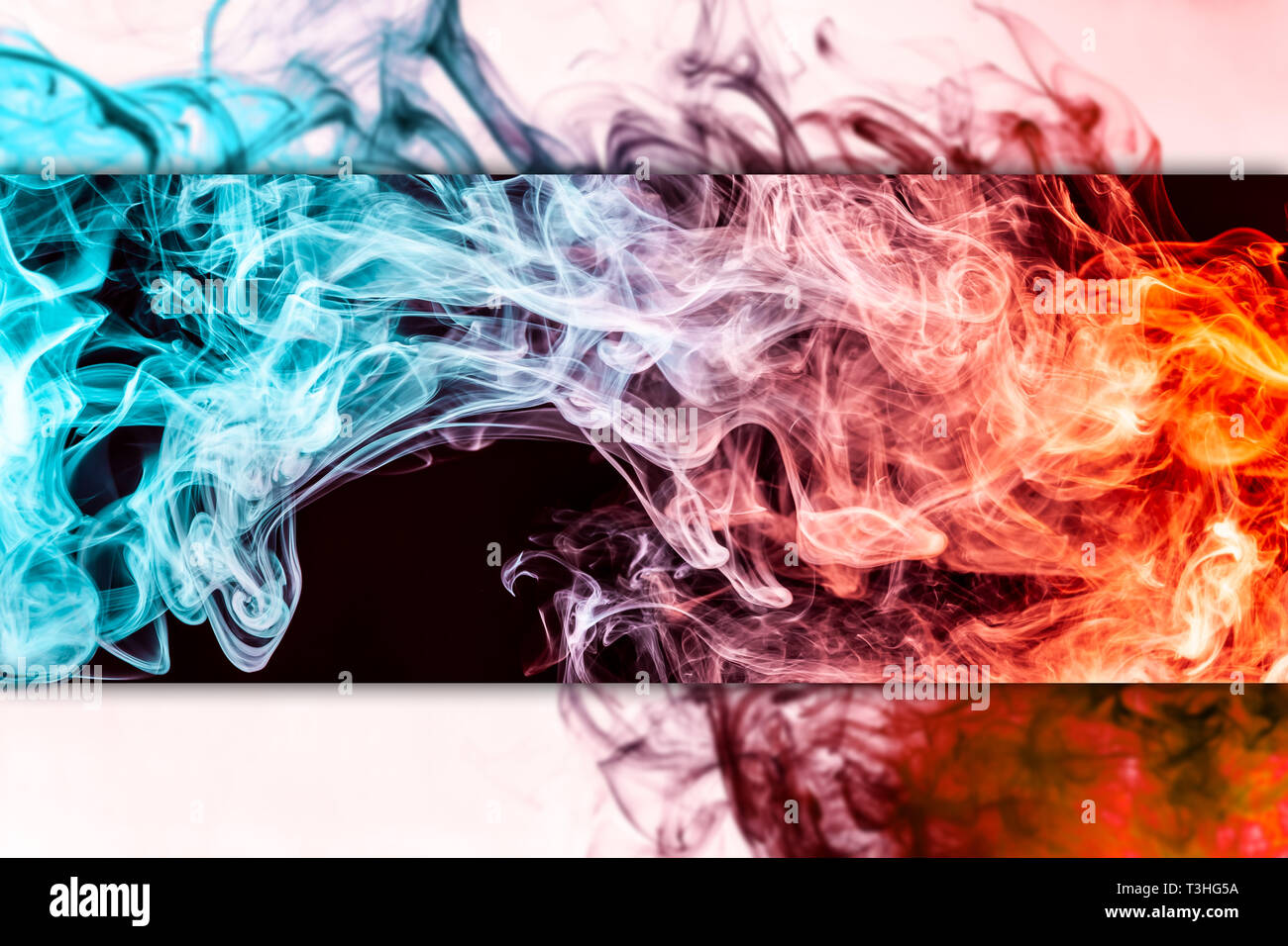 Frozen Abstract Movement Of Explosion Red And Blue Smoke