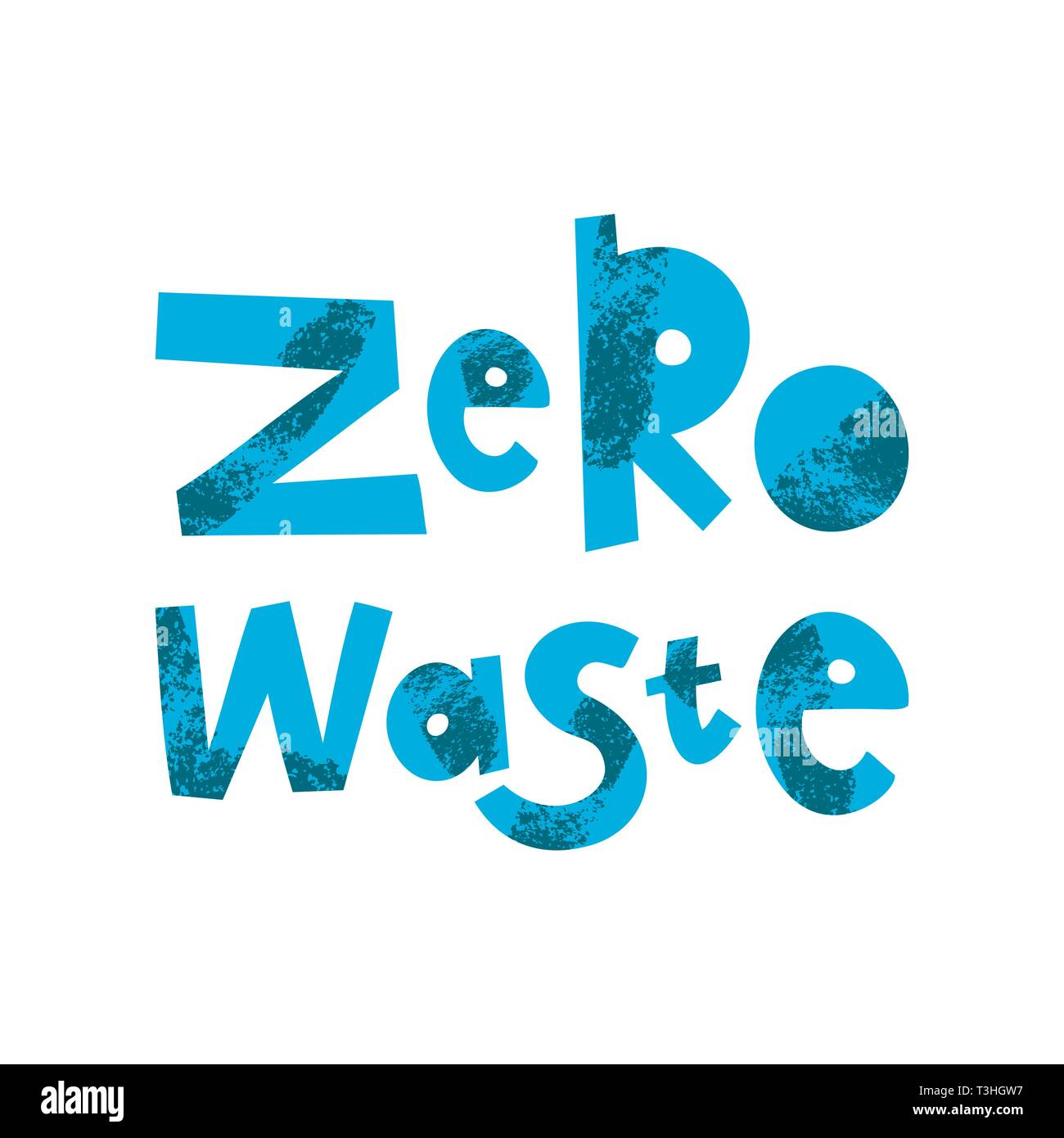 Zero waste cartoon lettering. Environment protection, ecology. Plastic free. Eco friendly. Motivational phrase vector clipart. Green quote, slogan with grunge texture. Recyclable, reusable materials - Stock Image