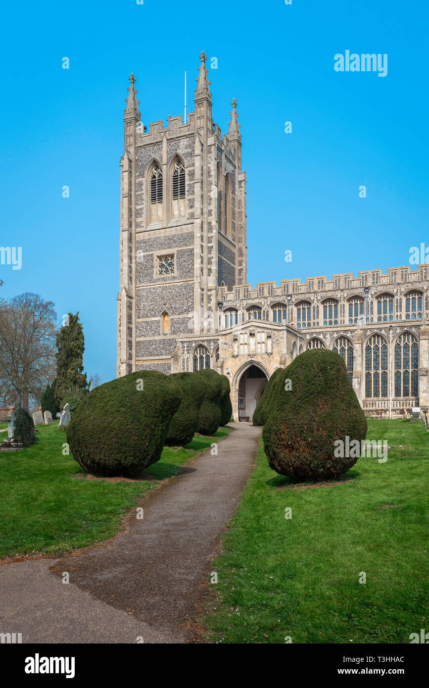 Long Melford Church, view of the tower of Holy Trinity Church - a large medieval parish church in the Suffolk village of Long Melford, England, UK. - Stock Image