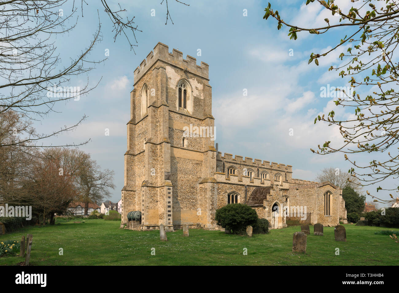View of St John The Baptist Church - a medieval parish church in the Suffolk village of Stoke by Clare, England, UK. - Stock Image