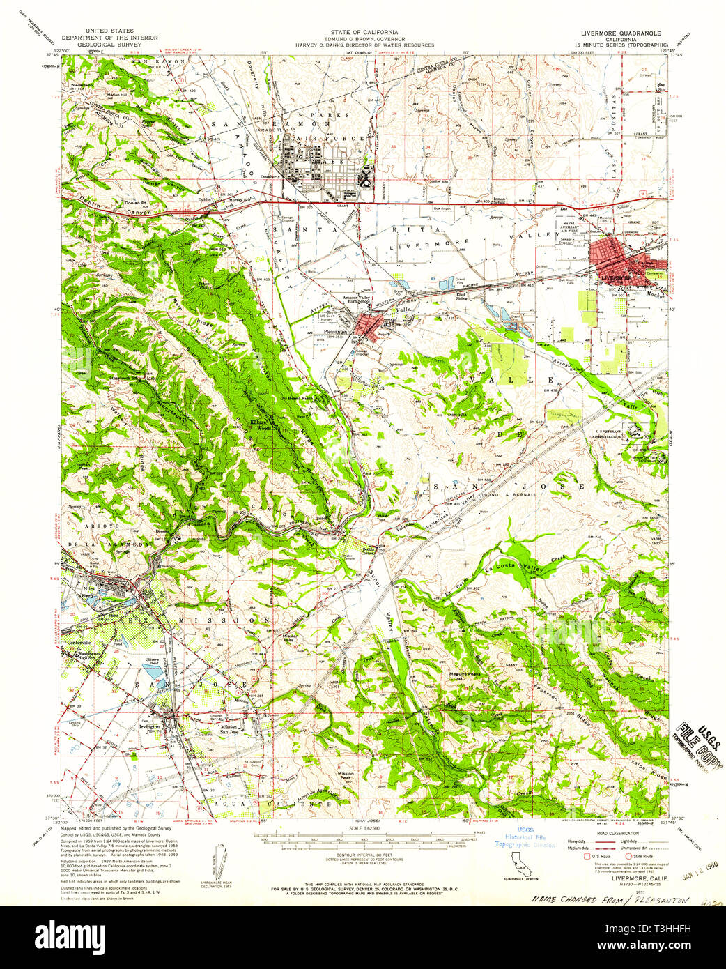USGS TOPO Map California CA Livermore 298028 1953 62500 ... California Topo Map on