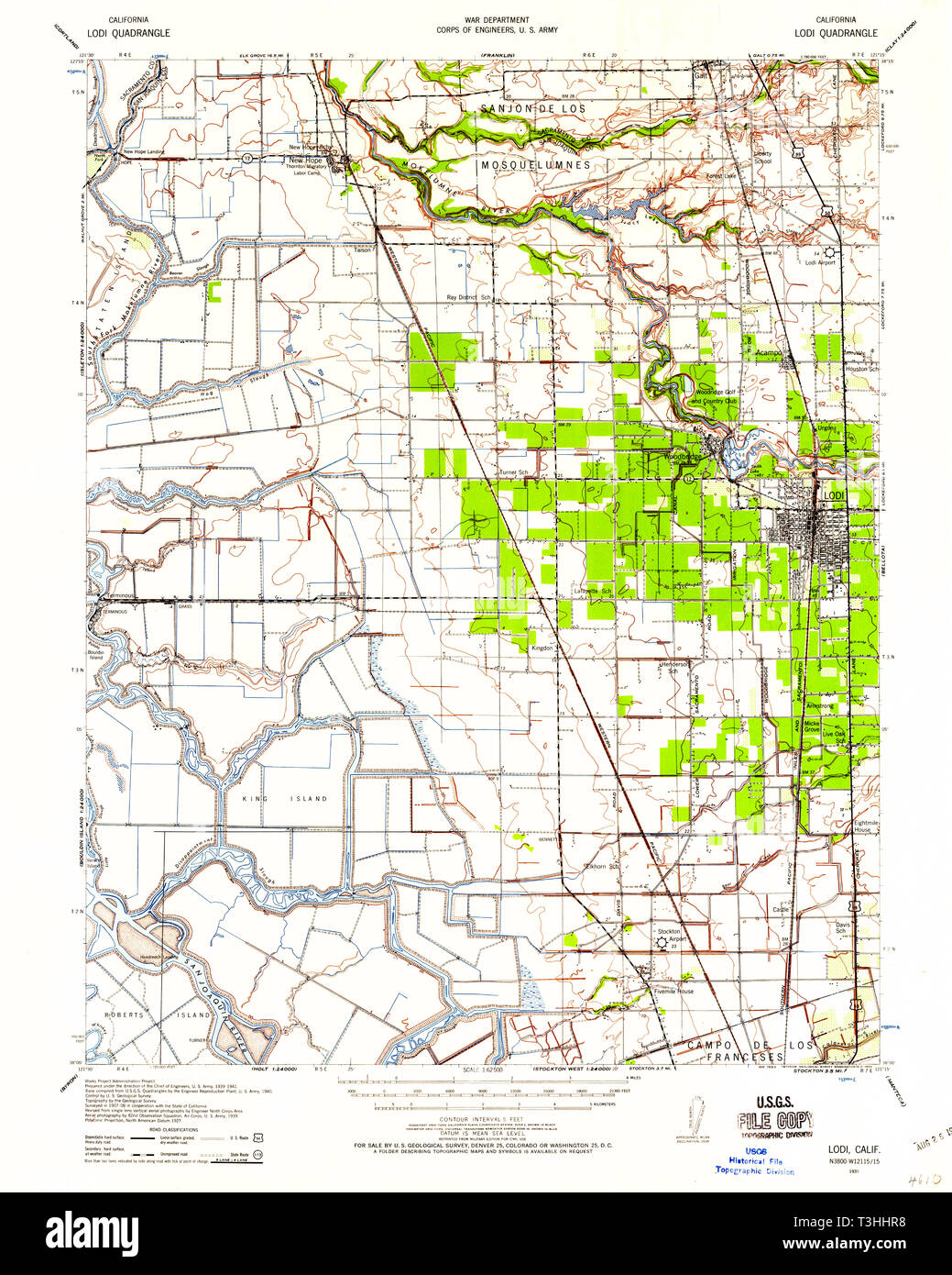 USGS TOPO Map California CA Lodi 298033 1939 62500 Restoration Stock ...