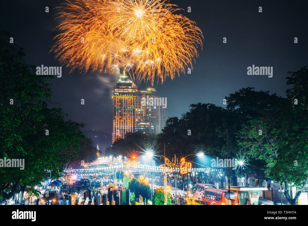 Fireworks on Sinulog Festival in Cebu City, Philippines - Stock Image