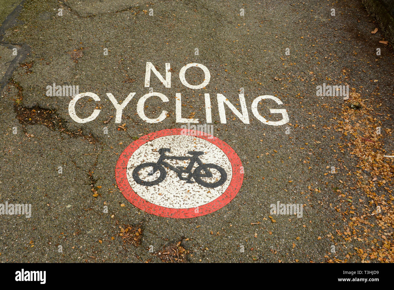 A Highway Code no cycling sign on a pavement in London, UK - Stock Image