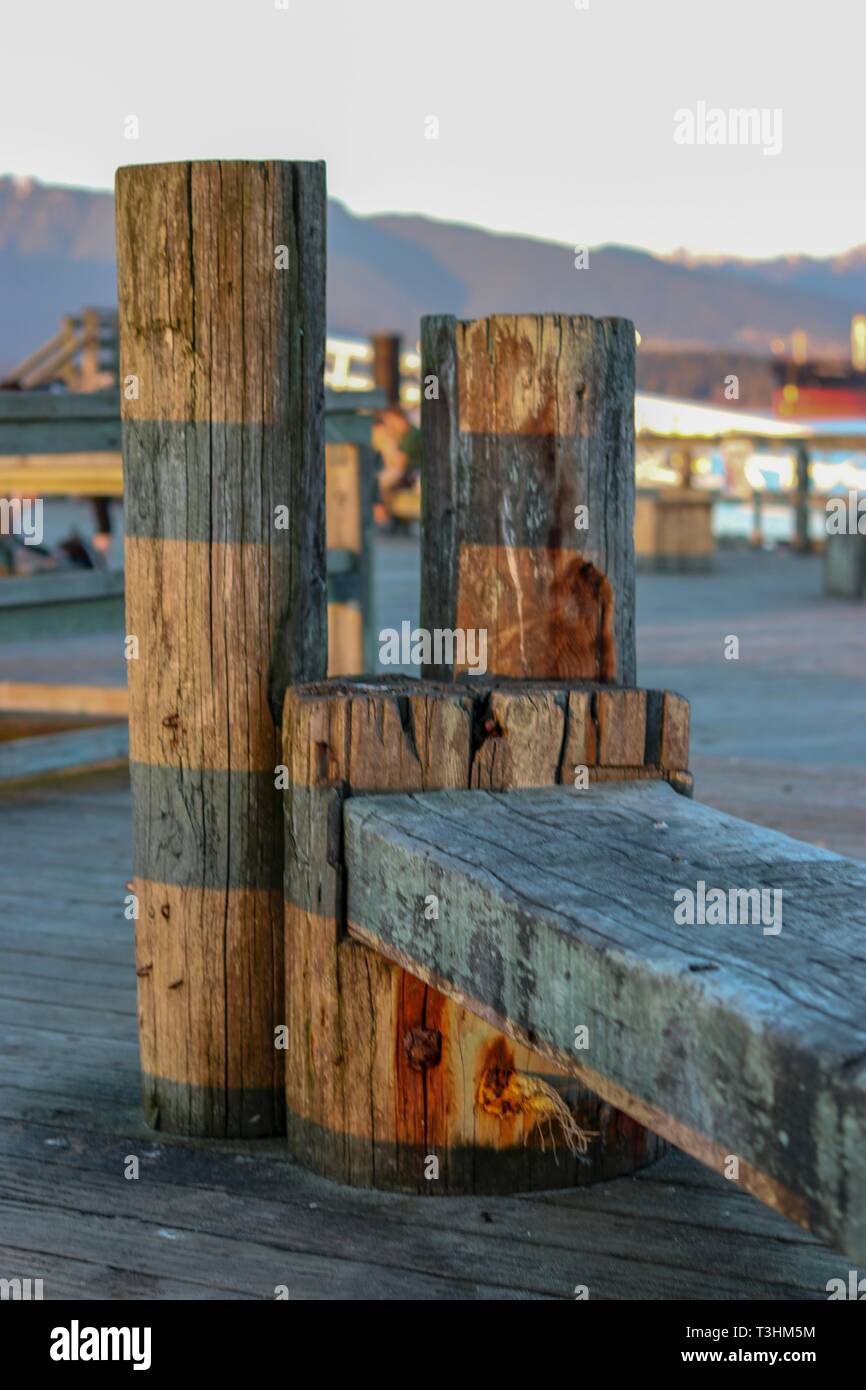 Bench on a pier - Stock Image