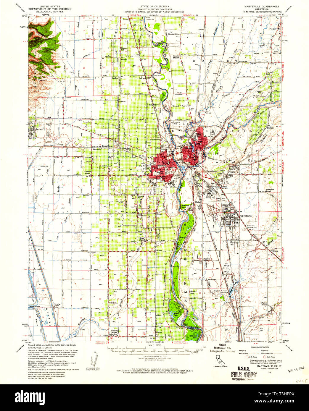 USGS TOPO Map California CA Marysville 298139 1952 62500