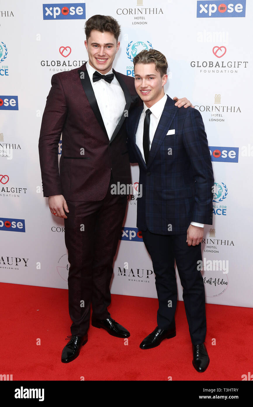 Chris Pritchard, AJ Pritchard at the Football for Peace initiative dinner by Global Gift Foundation,London, UK.   8th April 2019 - Stock Image