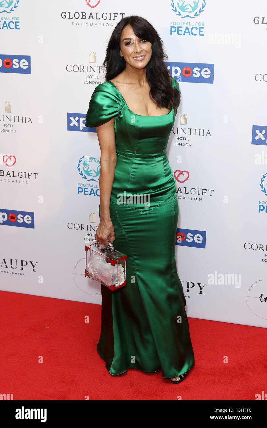 Jackie Sinclair at the Football for Peace initiative dinner by Global Gift Foundation,London, UK.   8th April 2019 - Stock Image