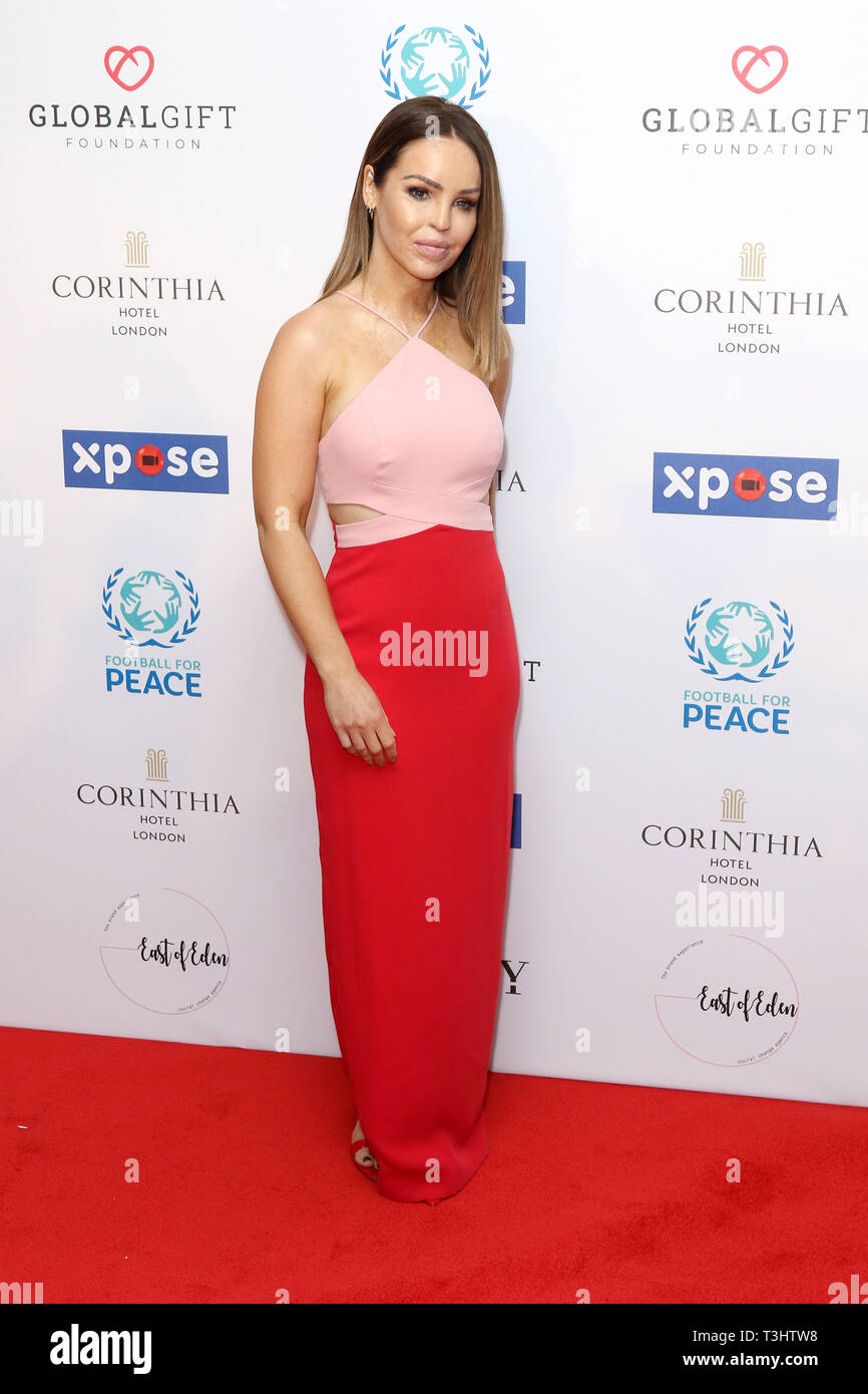 Katie Piper at the Football for Peace initiative dinner by Global Gift Foundation,London, UK.   8th April 2019 - Stock Image