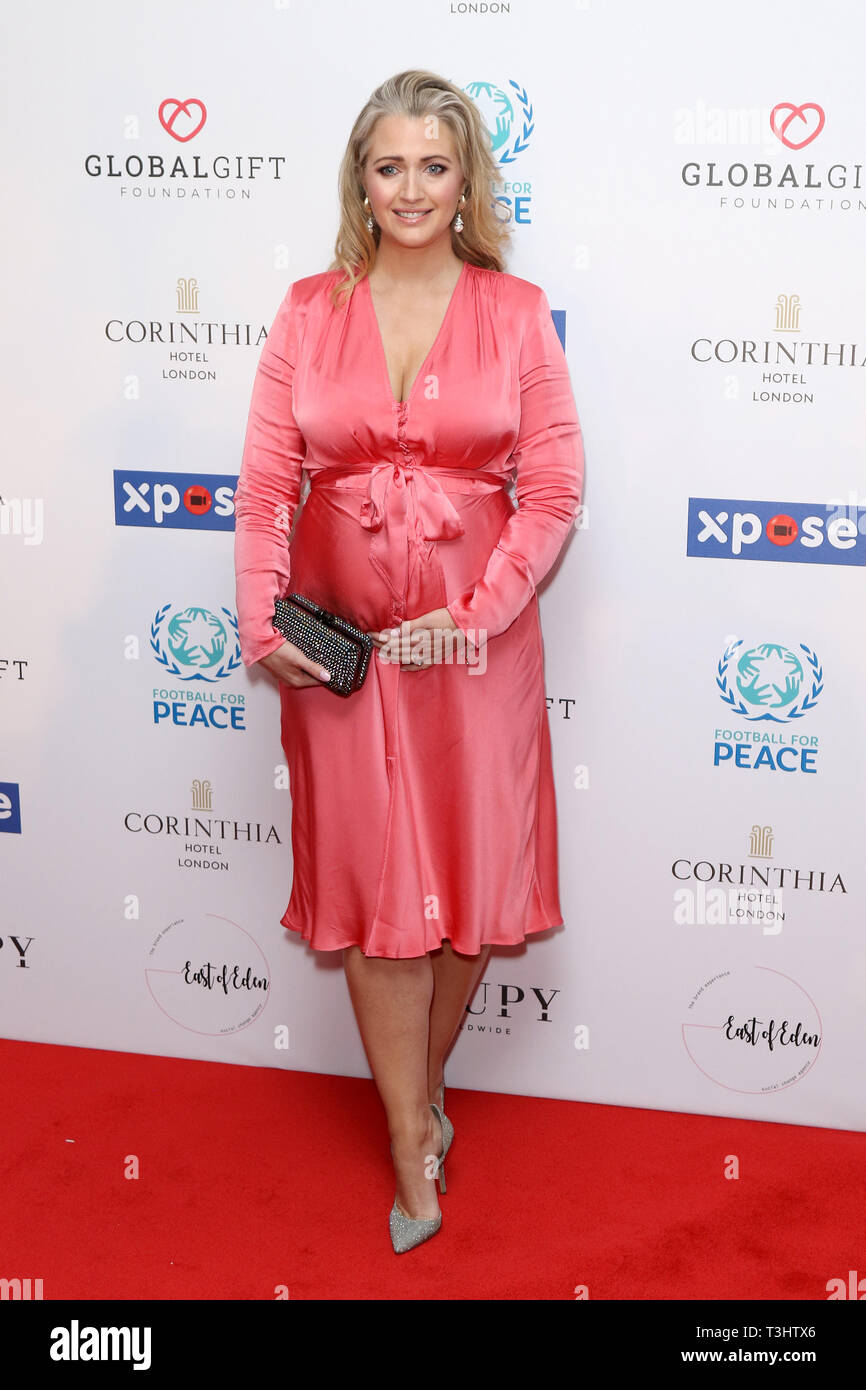 Hayley McQueen at the Football for Peace initiative dinner by Global Gift Foundation,London, UK.   8th April 2019 - Stock Image