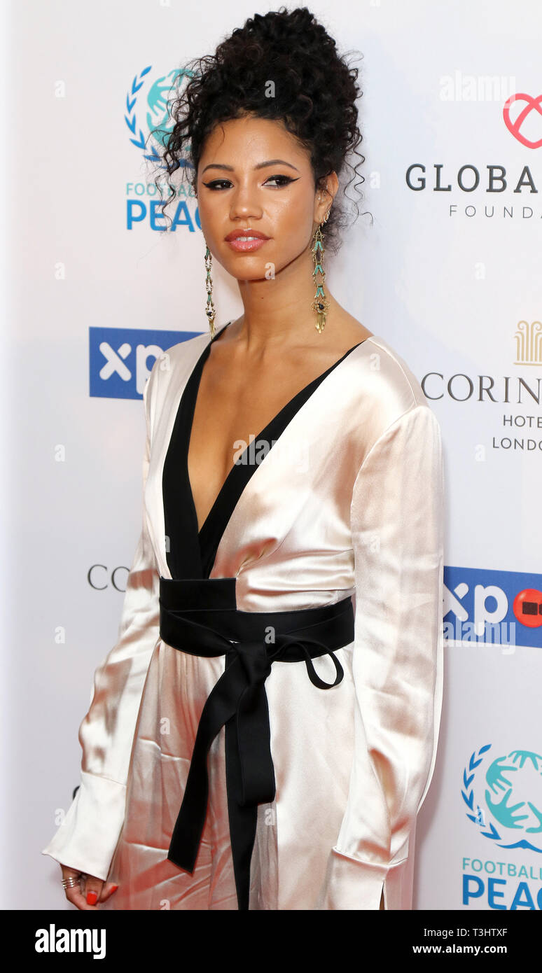 Vick Hope at the Football for Peace initiative dinner by Global Gift Foundation,London, UK.   8th April 2019 - Stock Image