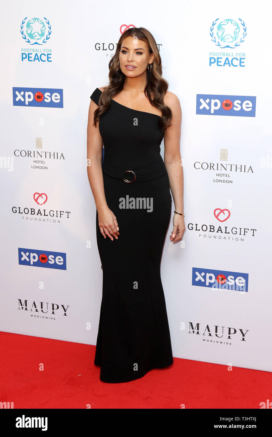 Jessica Wright at the Football for Peace initiative dinner by Global Gift Foundation,London, UK.   8th April 2019 - Stock Image