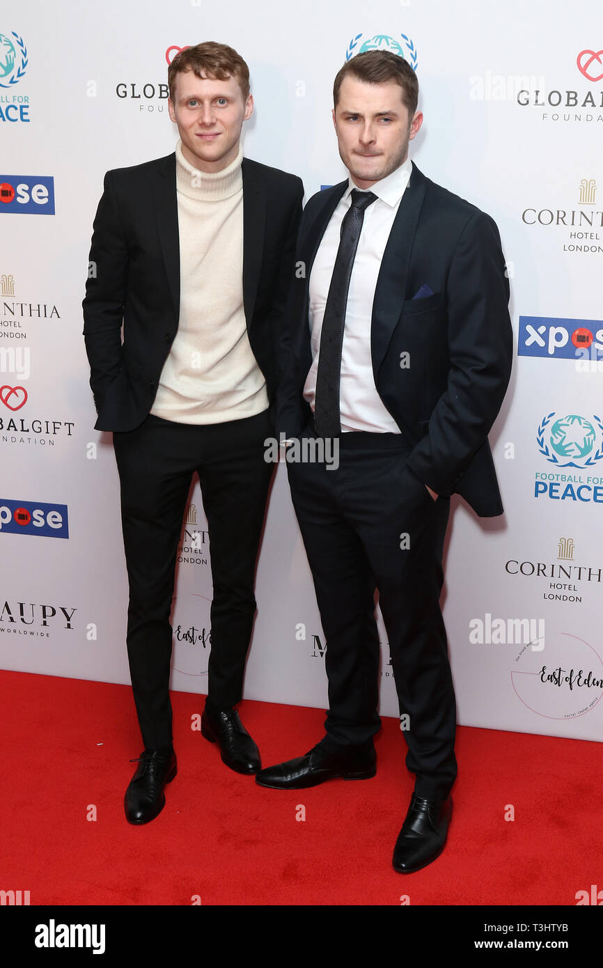 Jamie Borthwick, Max Bowden at the Football for Peace initiative dinner by Global Gift Foundation,London, UK.   8th April 2019 - Stock Image