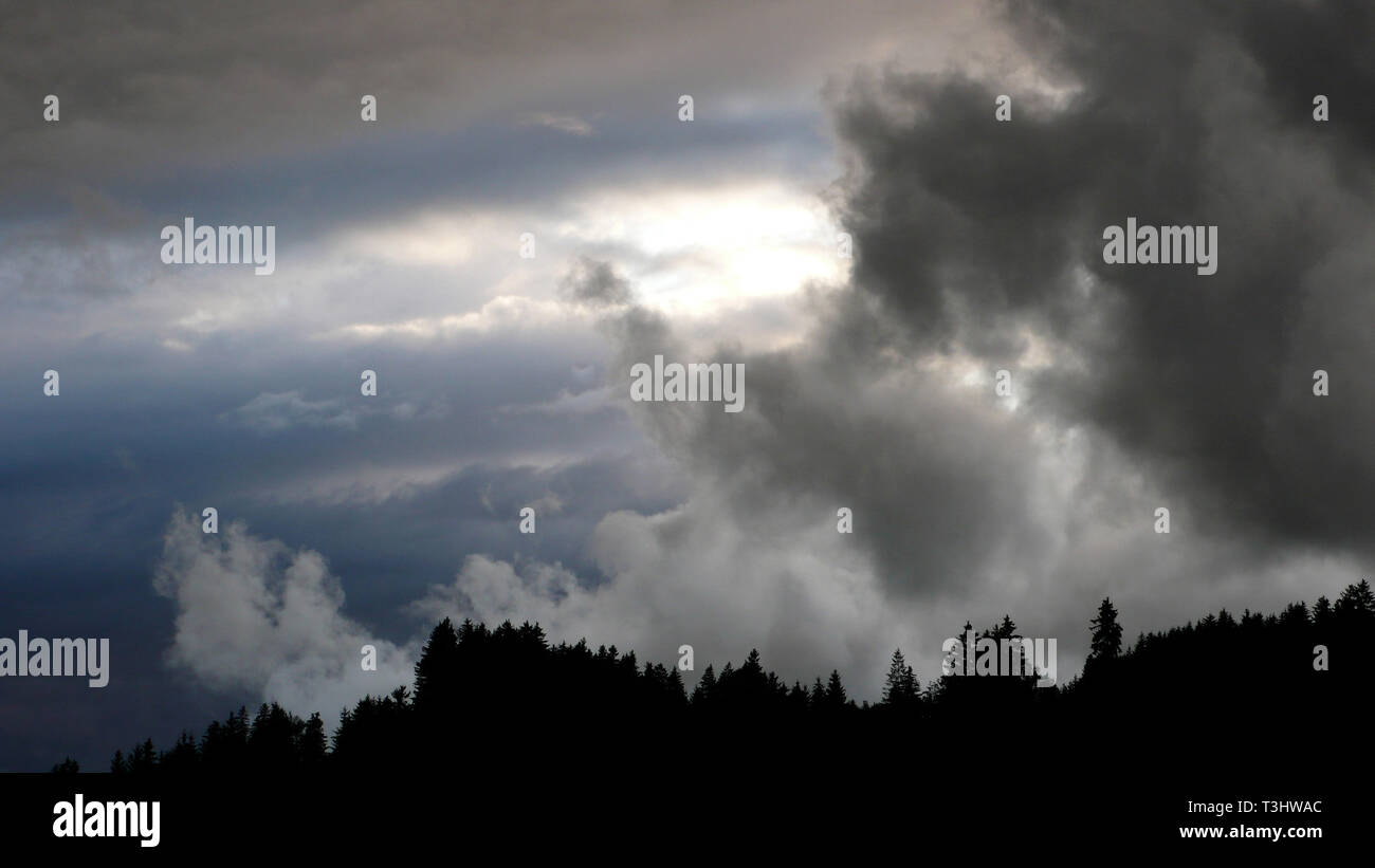 Storm clouds over Wertach, Allgäu, Bavaria, Germany - Stock Image