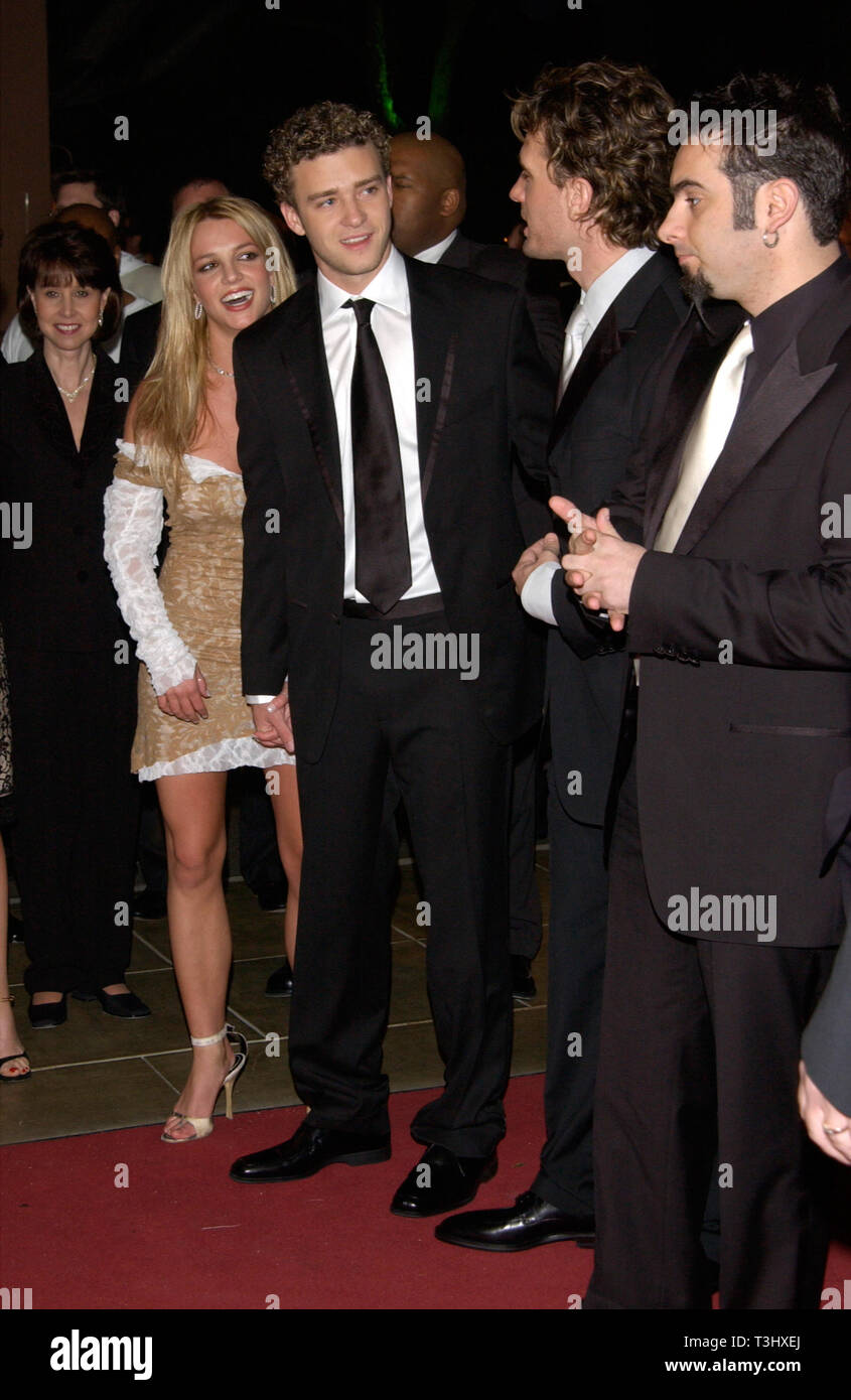 Los Angeles Ca February 26 2002 Pop Star Britney Spears With Boyfriend Nsync Star Justin