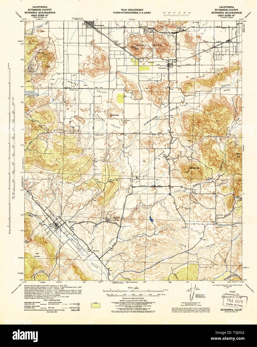 USGS TOPO Map California CA Murrieta 298336 1943 62500