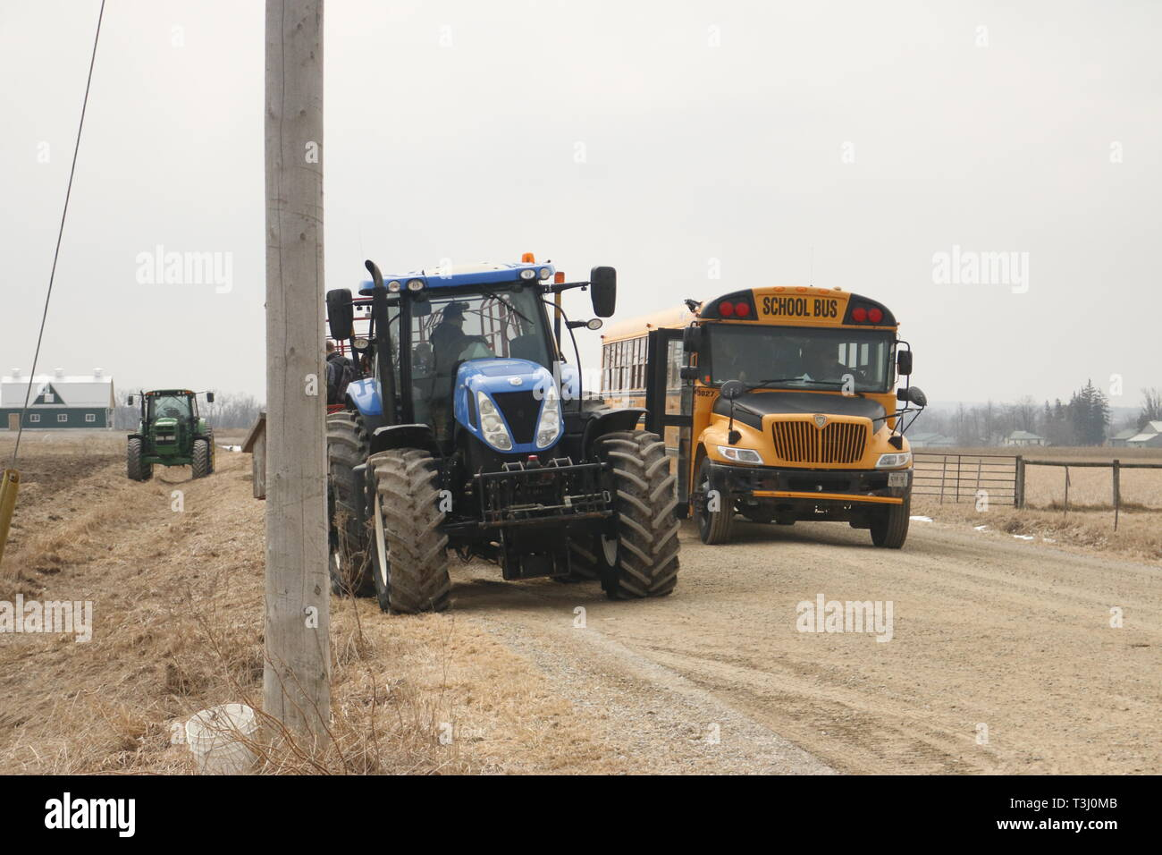 April 06 2019, Elmira Canada: Editorial photo of a school bus driving by a tractor. Elmira is known for their high Mennonite population mixed with - Stock Image