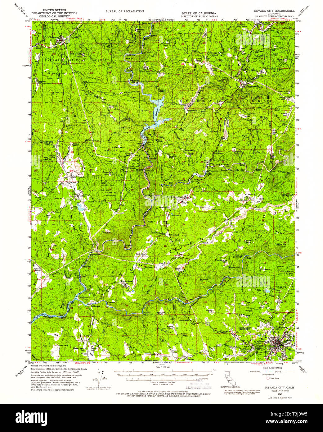 USGS TOPO Map California CA Nevada City 298348 1948 62500 ...