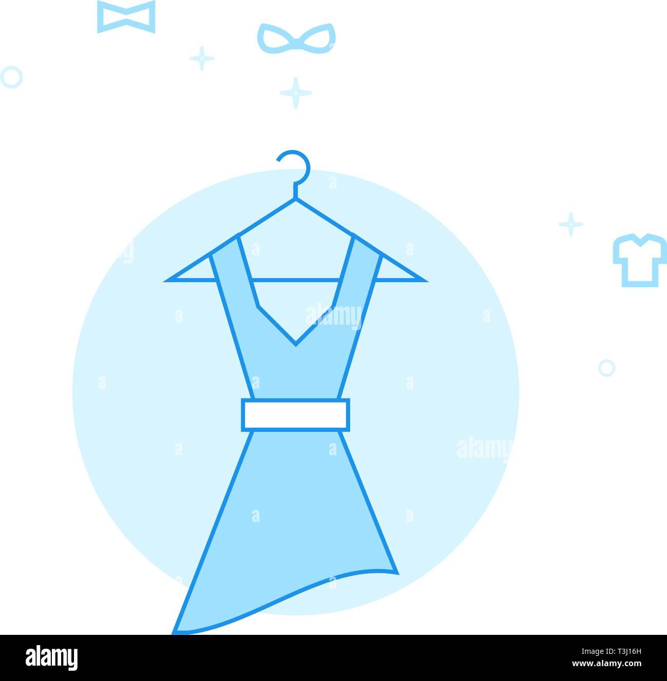 Women's Dress on a Hanger Flat Vector Icon. Clothes or Garments, Wear Illustration. Light Flat Style. Blue Monochrome Design. Editable Stroke. Adjust  - Stock Vector