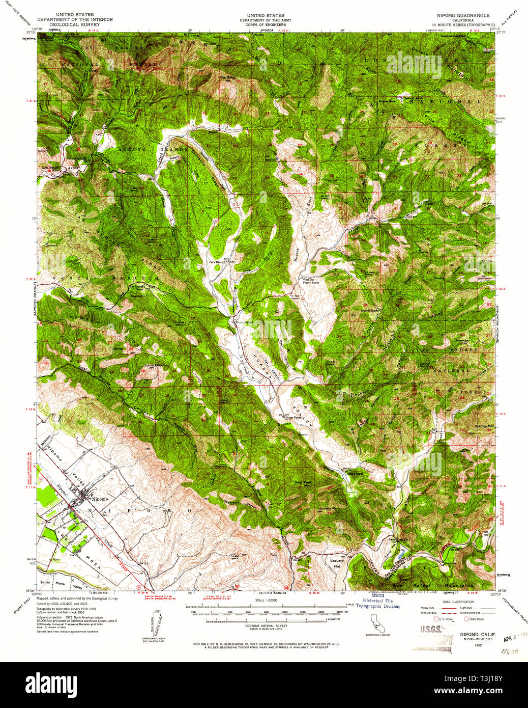 USGS TOPO Map California CA Nipomo 298370 1952 62500 Restoration ...
