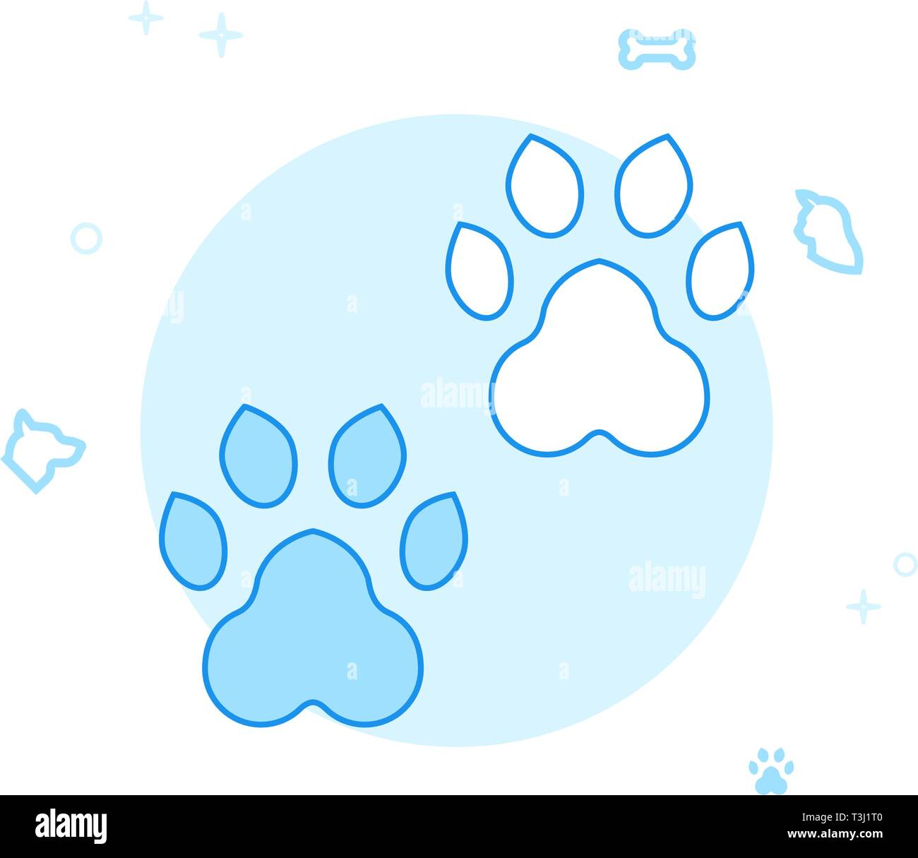 Animal Tracks, Footprints Flat Vector Icon. Pet and Pet Supply Illustration. Light Flat Style. Blue Monochrome Design. Editable Stroke. Adjust Line We - Stock Image