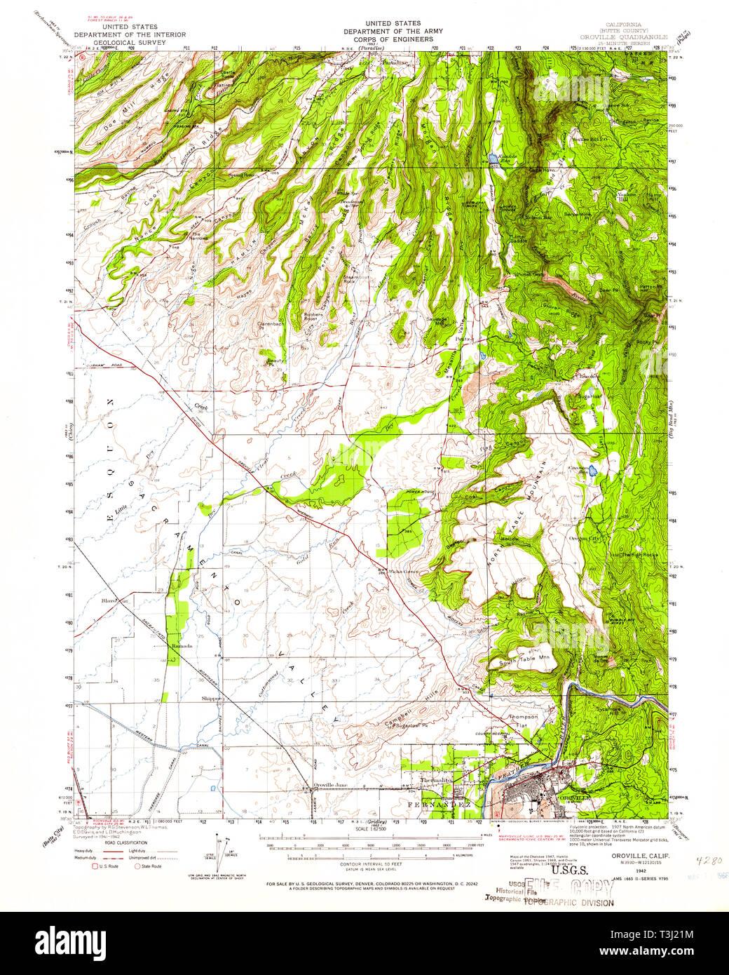 USGS TOPO Map California CA Oroville 298429 1942 62500 Restoration ...