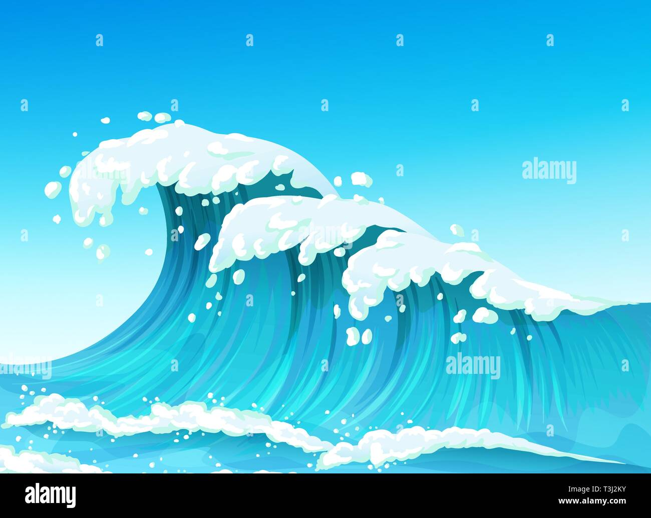Big sea or ocean wave with splashes and white foam, seascape - Stock Vector
