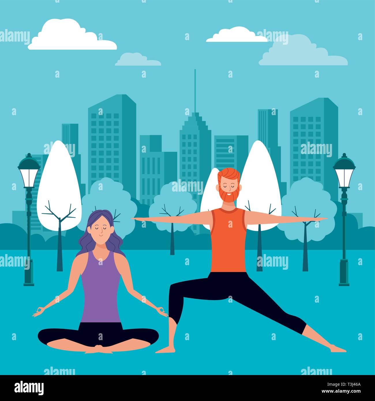 couple yoga poses Stock Vector Image & Art - Alamy