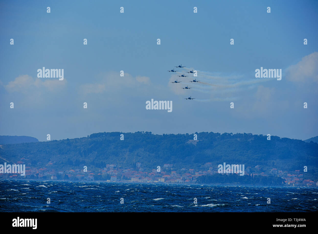 Frecce tricolori at Zadar 4. April 2019. flying with 30 knots south wind Stock Photo