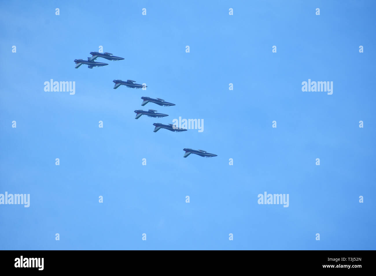 Frecce tricolori at Zadar 4. April 2019. flying with 30 knots south wind - Stock Image