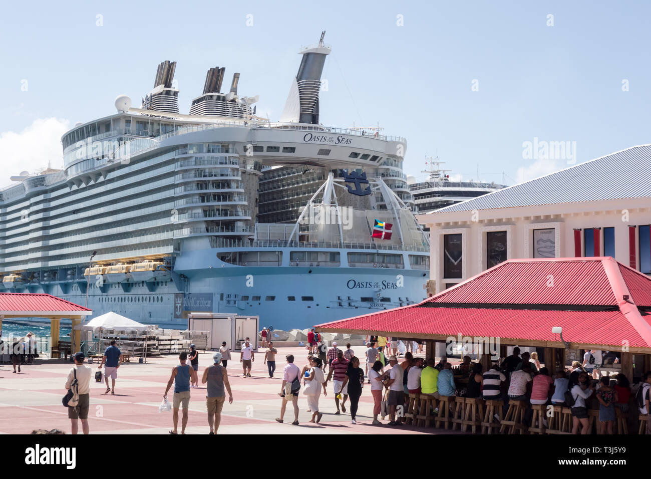 Oasis of the Seas owned by Royal Caribbean International is being docked at  Sint Maarten Cruise Port Terminal in Bahamas. - Stock Image