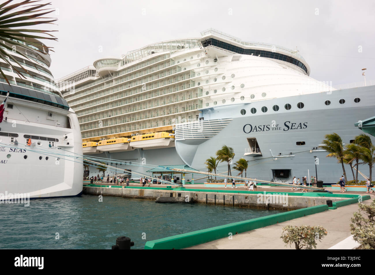 Oasis of the Seas owned by Royal Caribbean International is being docked at Nassau's cruise port terminal in Bahamas. - Stock Image