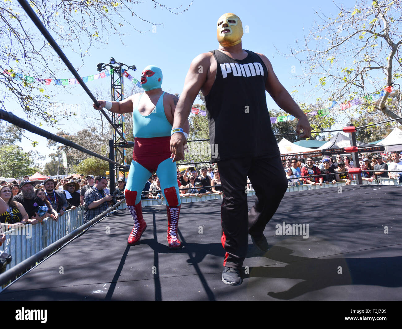 April 7, 2019 - Dana Point, California, USA - LUCHA LIBRE Wrestling Title Match at the Sabroso Craft Beer, Taco & Music Festival 2019 Sunday (Day 2) at Doheny State Beach in Dana Point, California. (Credit Image: © Billy Bennight/ZUMA Wire) - Stock Image