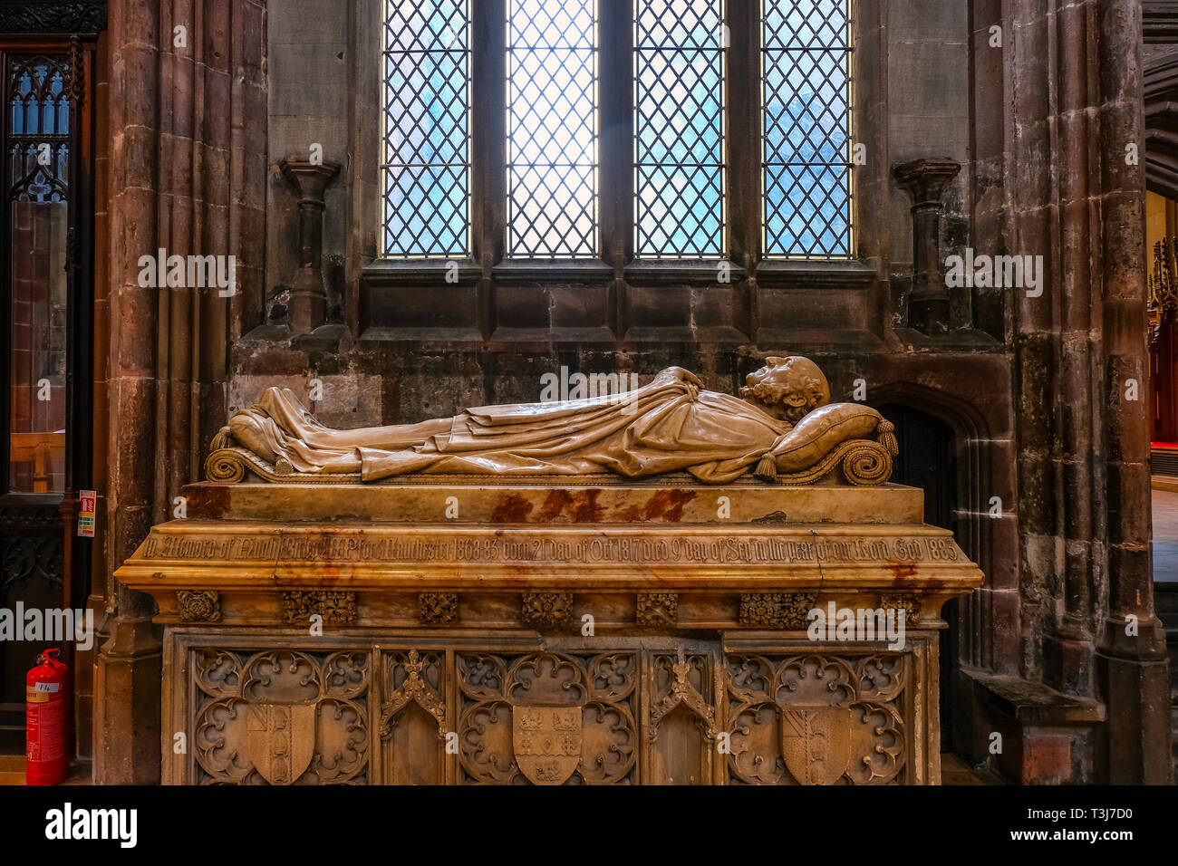 Manchester, UK - May 18 2018: Manchester Cathedral is the mother church of the Anglican Diocese of Manchester, seat of the Bishop of Manchester and th - Stock Image
