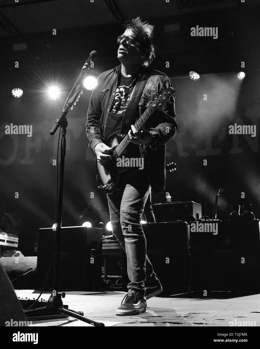 April 7, 2019 - Dana Point, California, USA - Lead guitist NOODLES (Kevin John Wasserman) of The Offspring performs at the Sabroso Craft Beer, Taco & Music Festival 2019 Sunday (Day 2) at Doheny State Beach in Dana Point, California. (Credit Image: © Billy Bennight/ZUMA Wire) - Stock Image