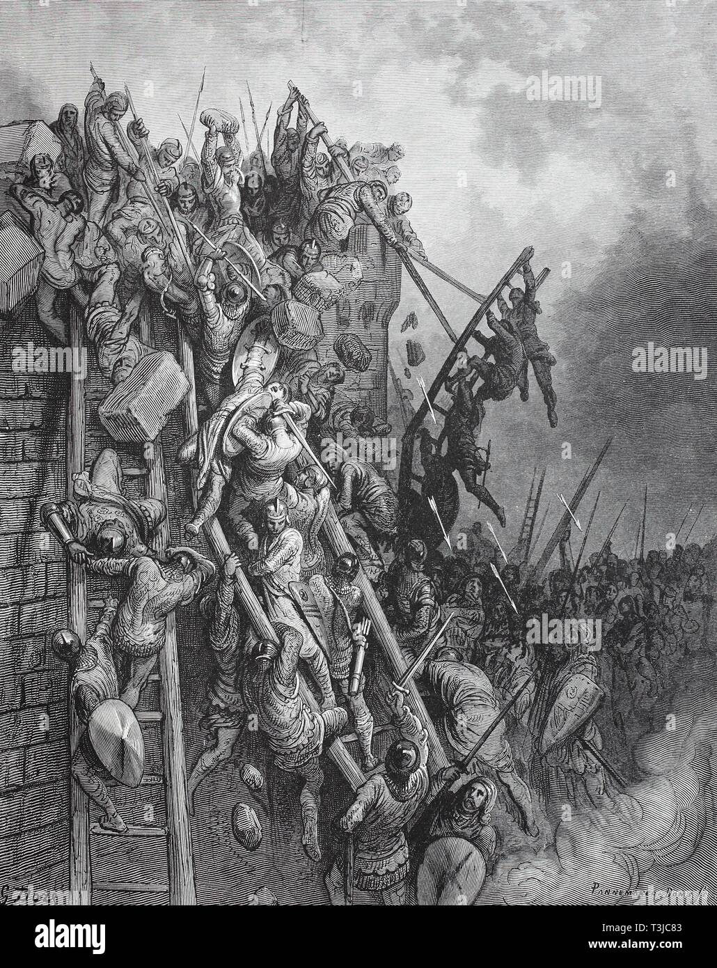 The Crusaders attack with scaling ladders to the walls of Wieselburg and are repulsed with heavy losses, First crusade, historical illustration - Stock Image