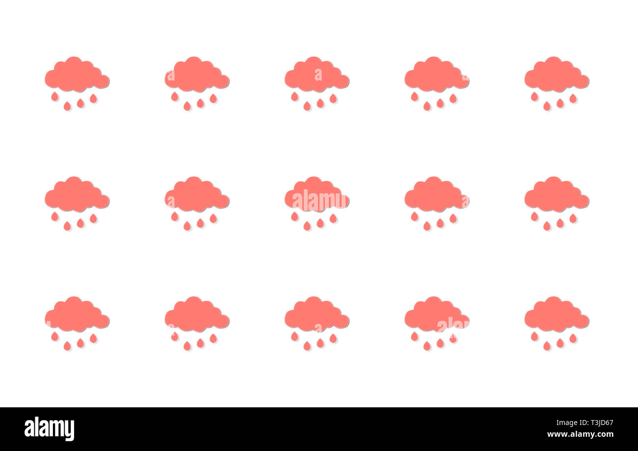 Cute coral pink clouds with rain drops, repeated pattern on a white background - Stock Image